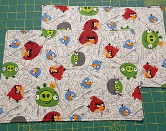 Placemat Set of 2 Quilted Angry Bird fabric - Reversible