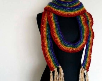 Knitted Rainbow Glitter sequin scarf using a variety of yarns ' Pot of Gold?'