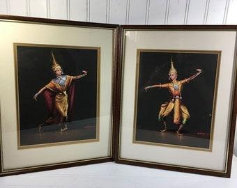 Vintage Thailand Dancers Framed Prints - Signed Charoen