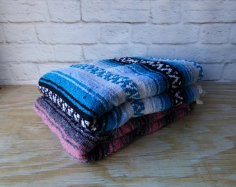 Vintage Blue or Pink Saltillo Blankets BOHO Beach House   Gift idea Photography Prop