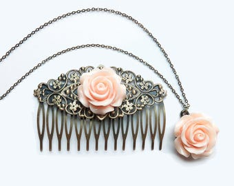 "Peach Rose Matching Set - Hair Comb and 18"" Necklace"