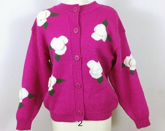 Pink Fuschia crochet rose Cardigan Wool Sweater , France, Vintage 1980's, Medium M