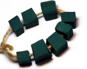 The word for world -- 8 cubic dark matte teal beads