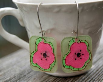 Neon Pink and Green Funky Earrings, Hand-Made