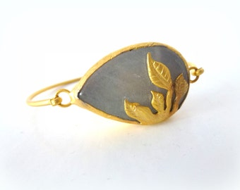 almond leaf gold plated bracelet- grey gold gem jewelry- bangle for her- delicate jewelry- nature lover gift