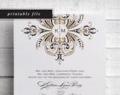 Printable Vintage Gold Wedding Invitations, Gold Monogram, Gold Wedding, Wedding Monogram, Gold Invite, Invitation Printable, Template