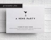 Hens Party Printable Invitation, Hens Printable Invitation, Printable Hen Night, Printable Hen Party Invite, Hen Night Invitation