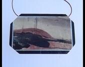 Chohua Jasper,Serpentine,Black Stone Intarsia Pendant Bead,Gemstone Bead,44x28x5mm,13.2g