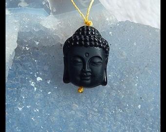 Carved Obsidian Buddha Head Gemstone Pendant Bead,22x17x11mm,5.6g
