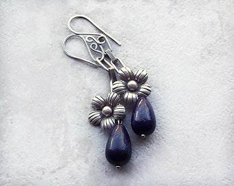 Flower Earrings, Lapis Earrings, Dark Blue Earrings, Tibetan Silver, Made in USA