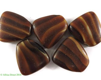 5 Tortoise Shell Glass Trade Beads Loose Africa 106971