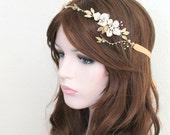 Gold Bridal Freshwater Pearl Hair Vine. Flower Crystal Boho Leaf Headpiece. Gold Mother Of Pearl Wedding Wreath. GISELLE