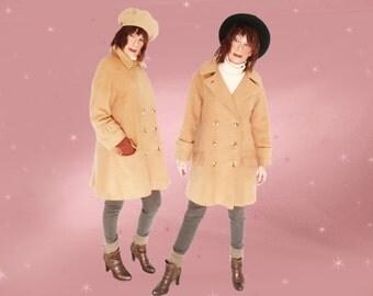 Vintage Camel Coat - 1960s Winter Coat - Classic with A-line TWIST - M