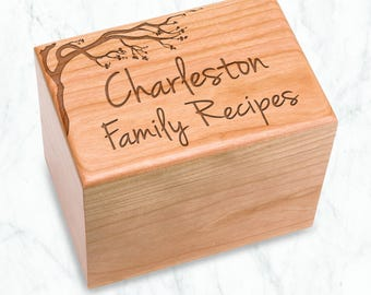 Cherry Blossom Recipe Box Engraved, Heirloom Quality Cherry Wood, Family Recipes Cherry Hardwood Box Holds 4x6 Cards & Dividers