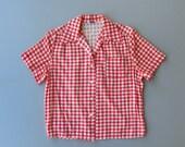 1950s Blouse. 50s Shirt. 1940s Blouse. 40s Blouse. Gingham Blouse. Red Gingham Blouse. Medium Large 50s Blouse