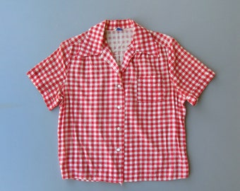 1950s Blouse. 50s Shirt. 1940s Blouse. 40s Blouse. Gingham Blouse. Red Gingham Blouse. Medium Large 50s Blouse