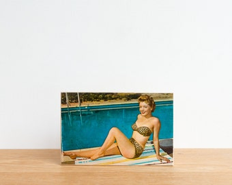 Pin Up Girl Vintage Postcard Art Block 'Leopard Bikini' - vintage beach photography, red and white polka dots, retro postcard