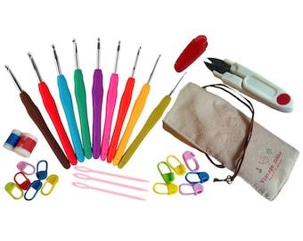 Ergonomic crochet hooks - Basic Crochet Hooks Kit - Colorful Soft Handle Aluminum Crochet Hooks - Knitting Set - Household Tools