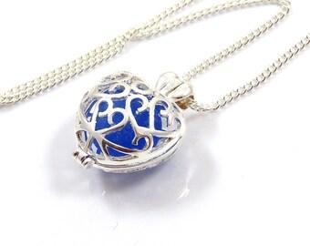 Cobalt Blue Sea Glass in Silver Heart Charm Necklace, Sea Glass Necklace, Love, Heart, Sea Glass Jewellery, The Strandline