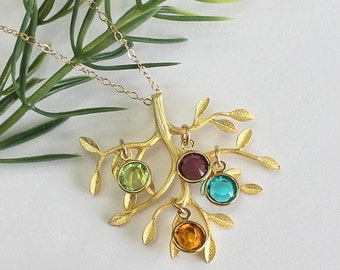 Personalized Mothers Necklace Gold Birthstone Necklace Family Tree Necklace Gift For Mom Grandma Mothers Day Gift Children's Birthstones