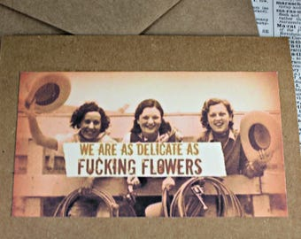 Cowgirls  Paper Card Dirty Words Card Set Funny Quote Urban Gypsy Greetings