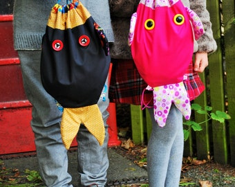Easter gift/Backpack/Drawstring bag/My Fishy Friend Bag/PE bag/Dance kit bag/Handmade in Scotland