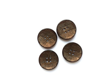 4 Chocolate Brown, Iridescent Vintage Fancy Buttons