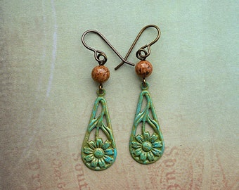 Green Patina Daisy Drop / Fossil Bead / Brass Earrings