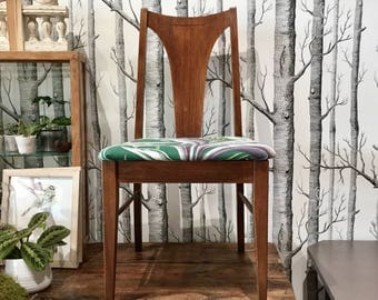 SOLD- DON'T BUY--  Danish Modern Chair | Tropical Print | Teak | Bohemian Chic | Mid-Century | British Colonial