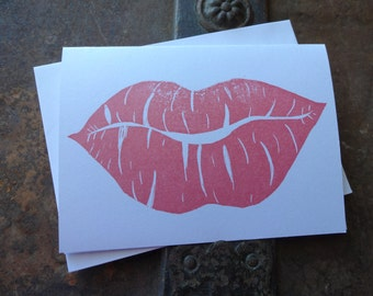 Valentine's Day Stamped Note Card, Lips, Love, Hugs & Kisses, Hand Carved Stamp, Stamped, Red Lipstick