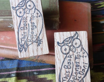 This Book Belongs To...Hand Carved Rubber Stamp: Owl Book Stamp, Book Plate, Name Stamp, Teacher Gift, Back to School