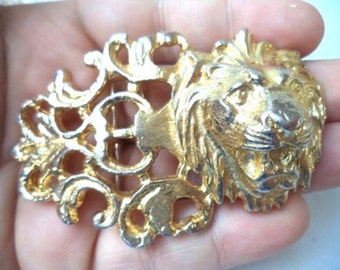 AUTHENTIC signed GAY BOYER Vintage Gold Tone Lion Head Belt Buckle Hollywood Regency Jewelry Art Nouveau