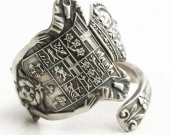 Canadian Art Nouveau Goddess Ring,Sterling Silver Spoon Ring, Canada Crest Ring, Canada Jewelry for Her, Handmade in Your Ring Size (6523)