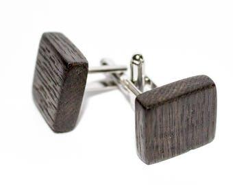 Wooden cuff links 900 years old black oak