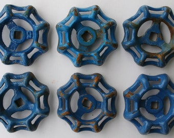6 Vintage Faucet  Handles,Shipping Special, Potting Shed Projects, Assemblage,Steampunk,Potting Shed Project-Blue Patina Industrial Handles