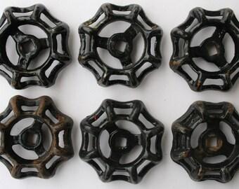 Vintage Water Faucet Handles-6 Black-Vintage Valve Handles-Shipping Special-Potting Shed -Outdoor Handles-Hardware Knobs