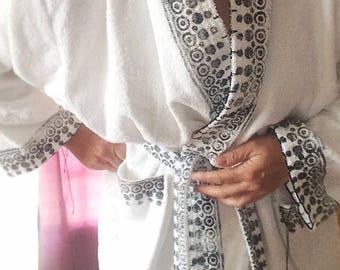 Bathrobe loungewear,  white S-M-L-XL-XXL very bohemian chic, blockprinted, artisanmade