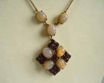 Vintage Necklace Amethyst Rhinestones and Faux Opals  1950's 1960s