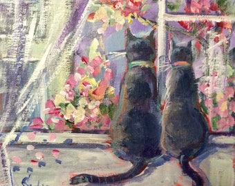 Cats Painting Cats in th City Painting Original Cat Art 6 x 6""