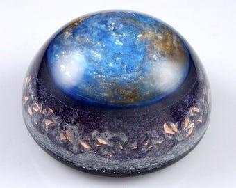 Celestial Orgonite® Dome with  Auralite, Tibetan Crystal, Phenacite & Petalite Crystals, Elite Shungite, Rhodizite, Selenite, Tourmaline