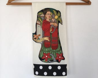 Frida Kahlo with Monkeys Towels-Dish-Kitchen-Tea Towels-Frieda-Artist-Polka-Dots-Art-Folklorico-Artist-Dove-Garden-Flowers-Day of the Dead