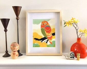 Orange Tree Owl - Fine Art Print 8x10