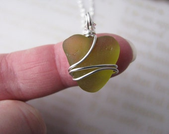 Sea Glass Heart Beach Glass Pendant Valentines Day Gift Olive SeaGlass Yellow Real Beach Glass Wire Wrapped Seaglass Chartreuse Real Natural