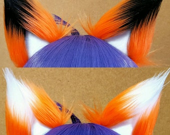Orange with White OR Black Tips Clip on Fox Ears