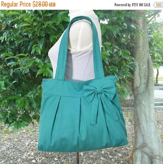 March Sale 10% off Turquoise green cotton canvas purse with bow / canvas tote bag / shoulder bag / hand bag / diaper bag