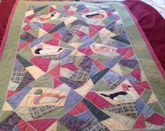 Old Quilt primitive crazy quilt design VINTAGE COLORS
