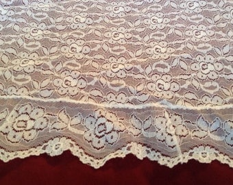 Oval lace tablecloth Vintage Lovely white soft flowing lace with sweet 3 inch ruffle #23