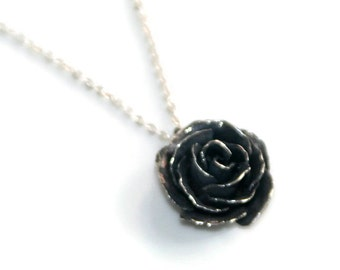 Black Rose Silver Pendant Necklace - Hand Forged Flower