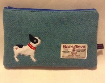 Large teal Harris Tweed makeup bag, zipped makeup case, embroidered french bulldog, frenchie lover, dog lover gift
