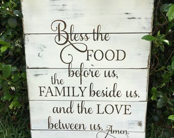 Rustic Wood Sign - Kitchen Wood Sign - Bless the food before us Sign - Reclaimed Wood Sign - Farmhouse Kitchen Sign - Rustic Kitchen Decor